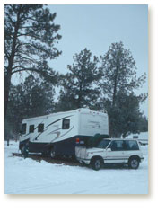 Camped in snow
